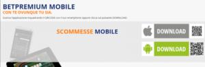 Web e app per dispositive mobile Betpremium