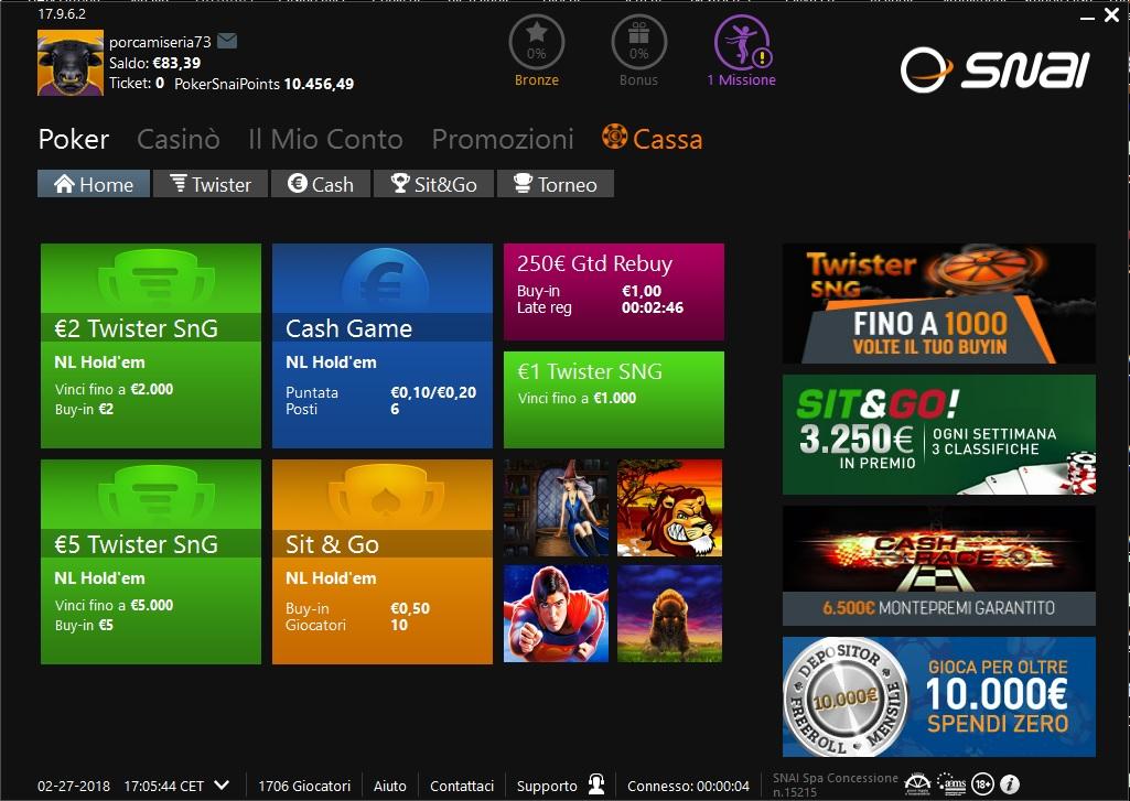 SNAI Poker e PayPal
